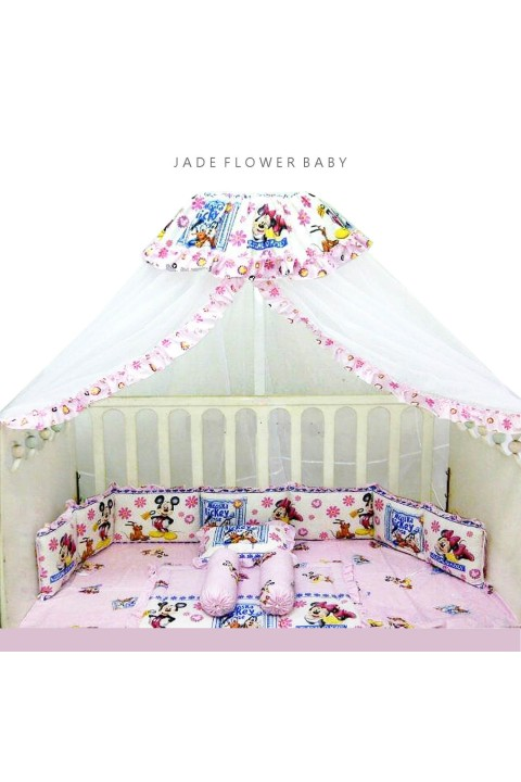 Bumper Set Bayi - Disney Edition - Mickey and Minnie with Flower