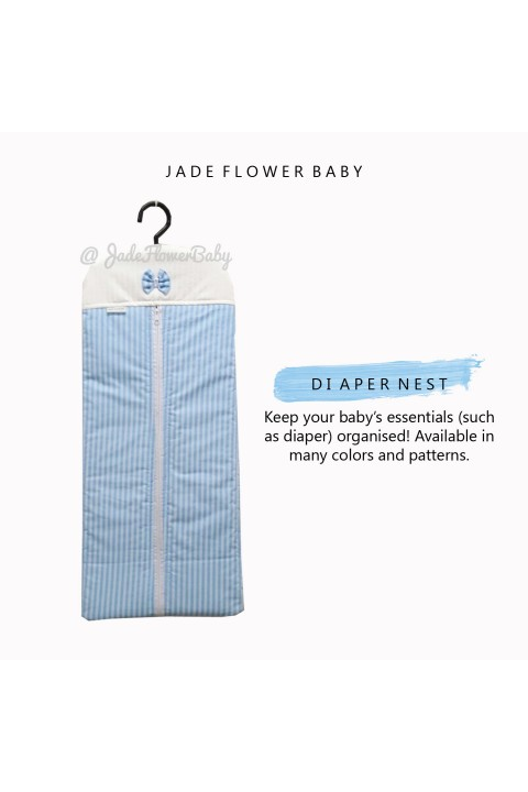 Diaper Nest - Blue and White