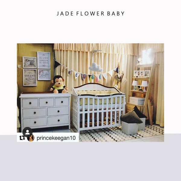 Charming nursery, such an inspiration, as can be seen on @princekeegan10. Thank you for trusting us! #JadeFlowerMinimalist in action